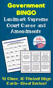 Fun Government BINGO game- review key landmark Supreme Court cases and amendments with your students. Great for AP® Gov classes!   AP® is a trademark registered by the College Board, which was not involved in the production of, and does not endorse, this product.