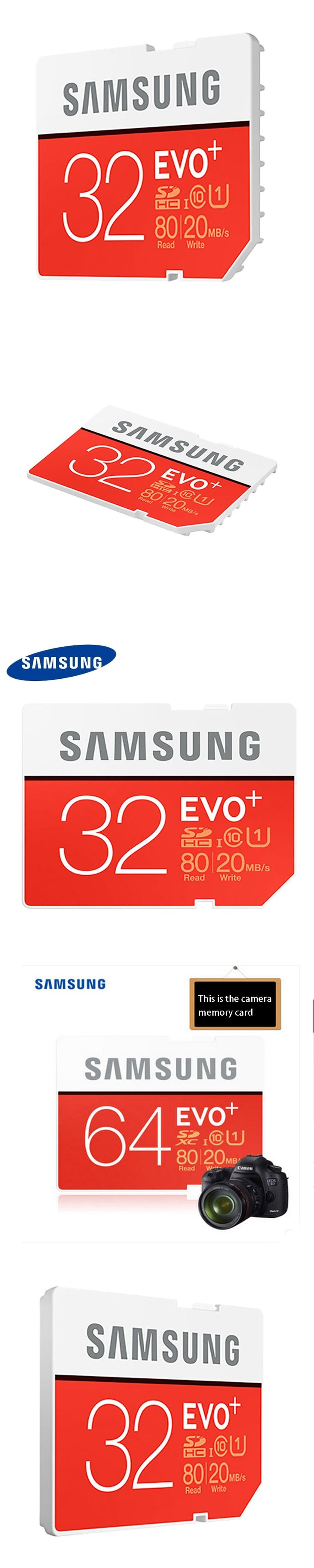 100% Original Samsung EVO+16GB/32GB/64GB SD Card Class10  Flash Memory Card Max up 80MB/s High Speed Camera SD Cards Camcorder