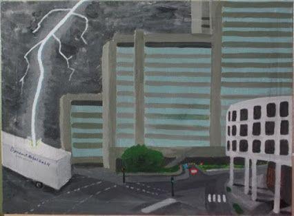 Stadthaus 0.00027sek vor Beginn der Grundsanierung / city hall 0,00027 sec before beginning of fundamental reconstruction (acryl 60x80cm)