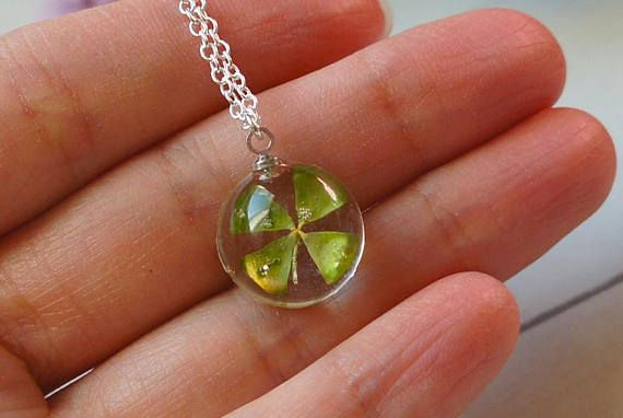 Four leaf clover necklace Resin necklace Clover necklace