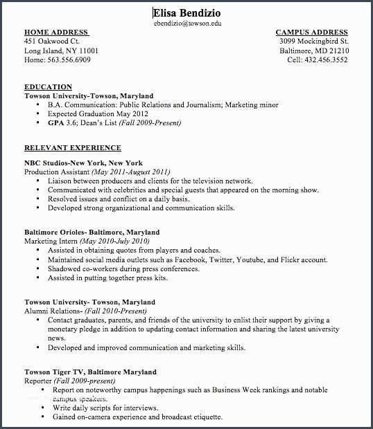 Bestsample College Student Resume No Work Experience