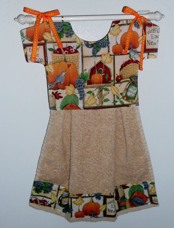 Dish Towel Dress Oven Towel Dress Autumn by LakesideQuiltsMaine, $8.00