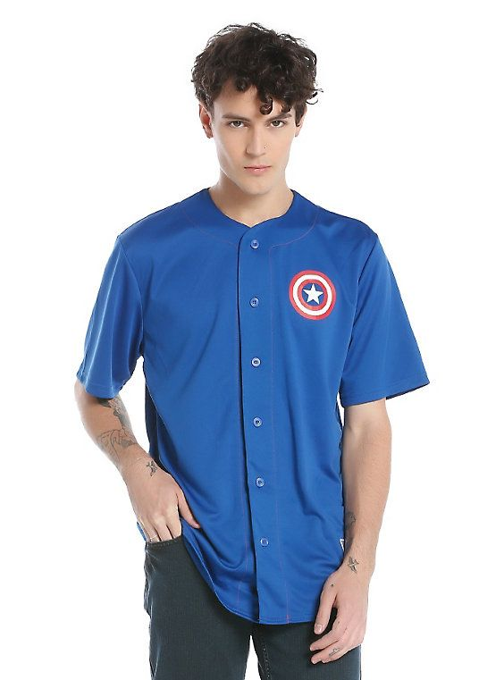Marvel Captain America Baseball Jersey, BLUE