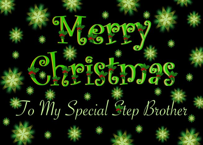 Step Brother Christmas Green Stars And Holly Card Ad Affiliate