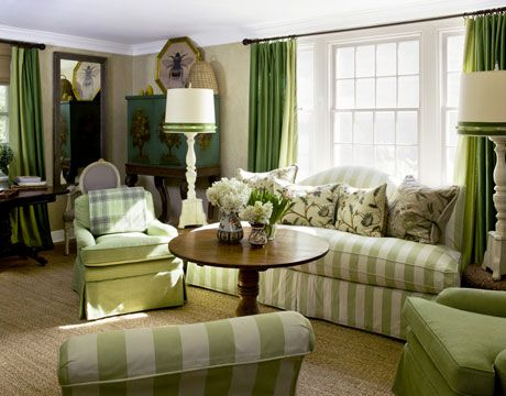 stripes: Cottages Living Rooms, House Beautiful, Design Boards, Rooms Ideas, Bees Cottages, Weights Loss, Shades Of Green, Rooms Makeovers, Green Rooms