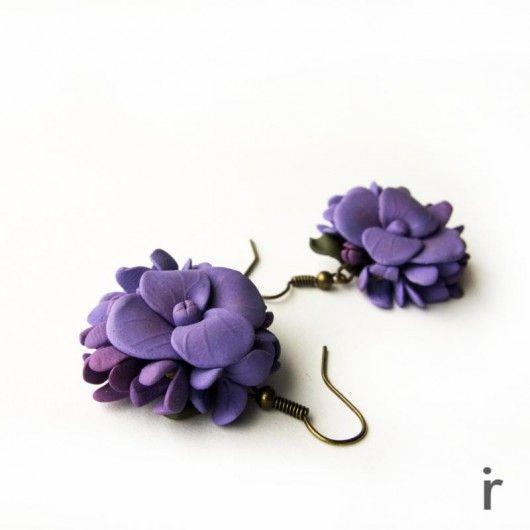 Wiszące Fioletowe Kolczyki z Kwiatami