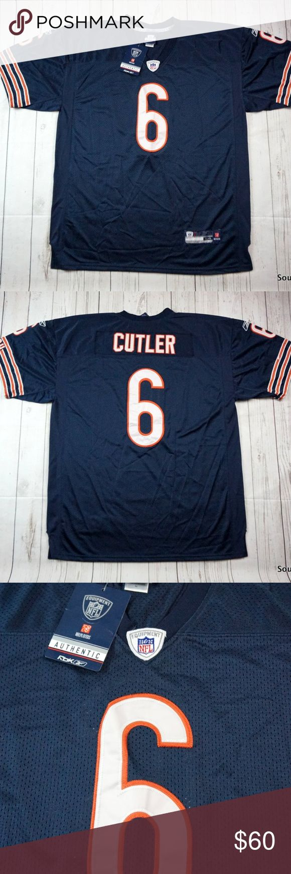 Chicago Bears Jay Cutler #9 Authentic NFL Jersey New With Tags Chicago Bears Jay Cutler #9 Authentic NFL Football Jersey Size 54 NWT  Brand New With Tags and will ship in 1 business day or less from a clean and smoke free environment.  Thanks! Reebok Shirts
