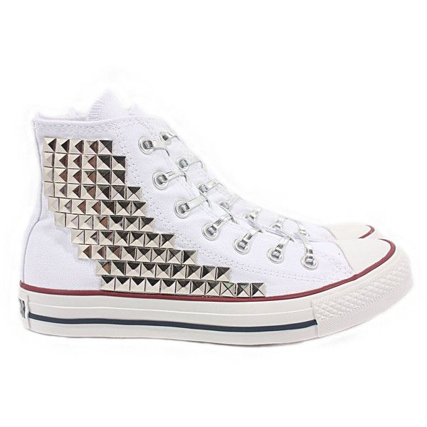 Studded Converse Pyramid studs with converse White high top
