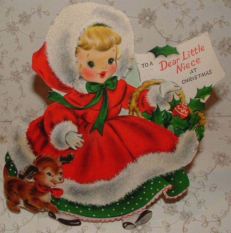 Lg. Stand-up - Flocked - Christmas Girl - 1953 Vintage HALLMARK Greeting Card