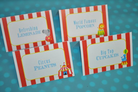 Circus Party Food Label Tent Cards - Buffet Labels - Carnival Birthday - Circus Birthday Party Decorations - Kids Circus Party - Set of 12