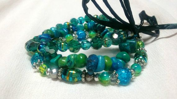 Multi-Colored set of 3 Green and Blue Stretch Bracelets