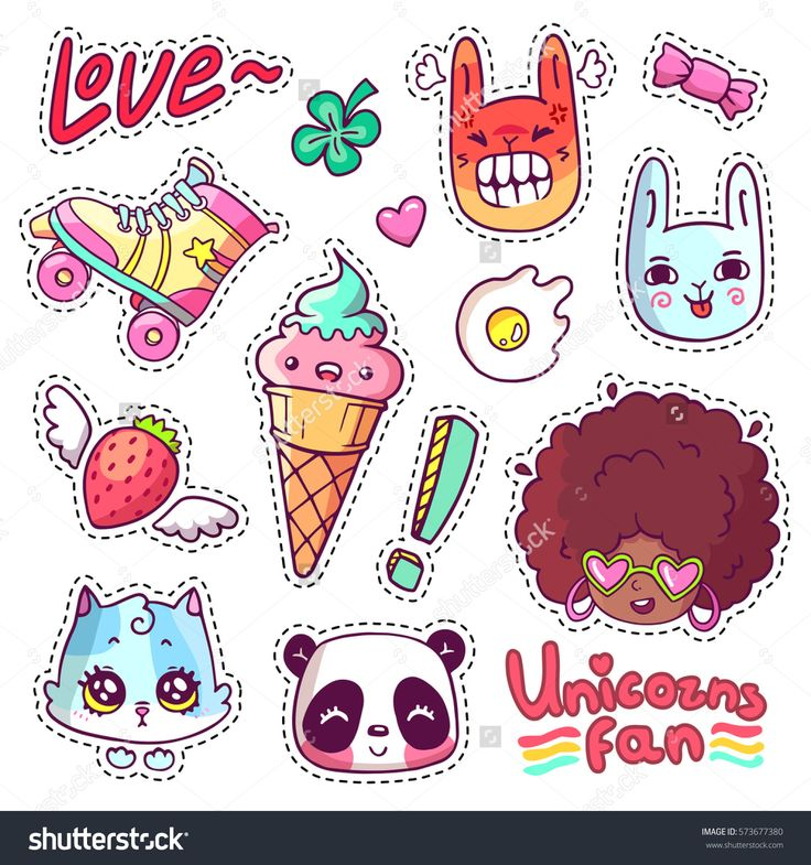 Colorful vector patch badges with animals, characters and things. Hand-drawn stickers, pins in cartoon 80s 90s comics style. Set with african woman, angry bunny, adorable kitten, etc.