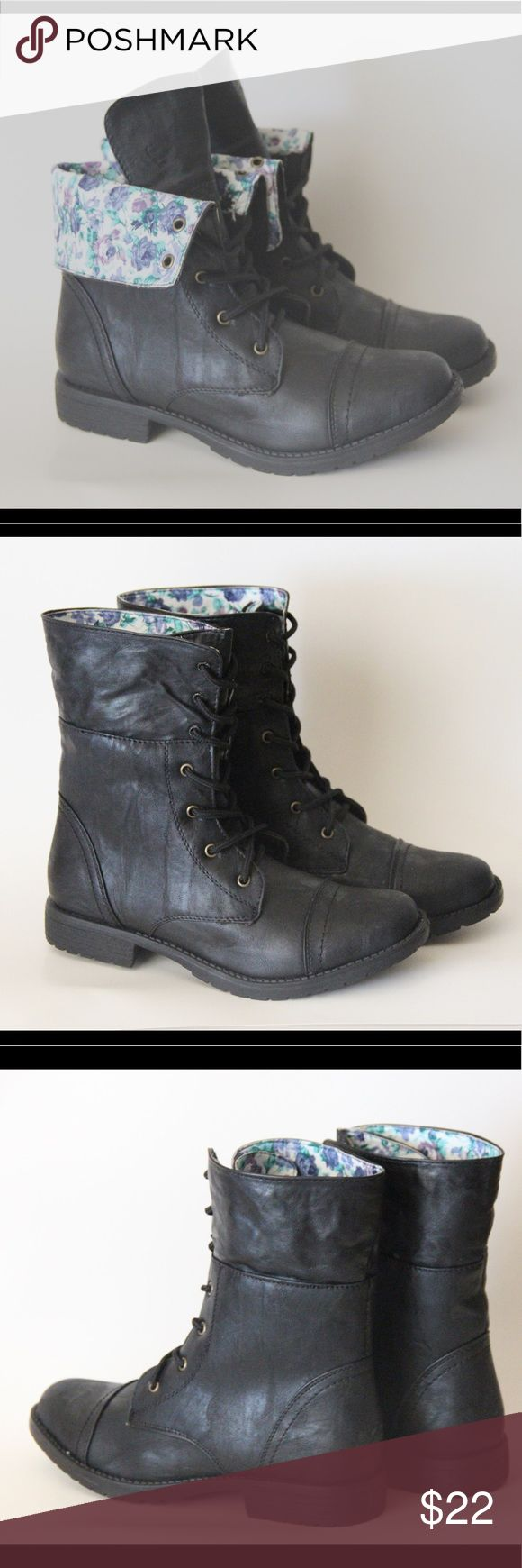 Women's Military Combat Mid Calf Boots Floral Blue New with box combat/military boots with blue floral interior. Material is synthetic leather that is weather repellant. Many sizes to choose from. CA Collection by Carrini Shoes Combat & Moto Boots