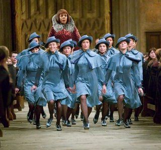 The Beauxbatons uniform from the Harry Potter films... An example of costuming which is absolutely bang on.