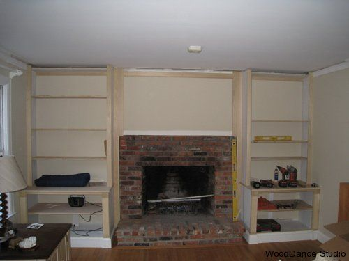 Built in Shelves around brick Fireplace | WoodDance Studio ...