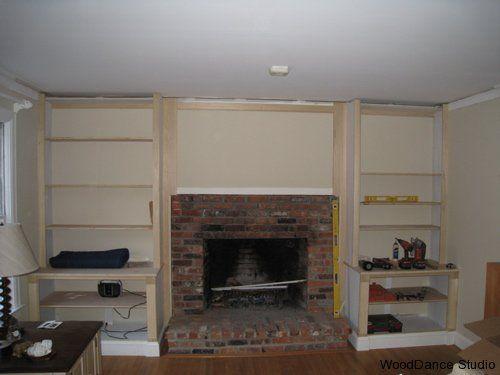 Built in Shelves around brick Fireplace  WoodDance Studio Builtin Cabinets  Bookcase Around