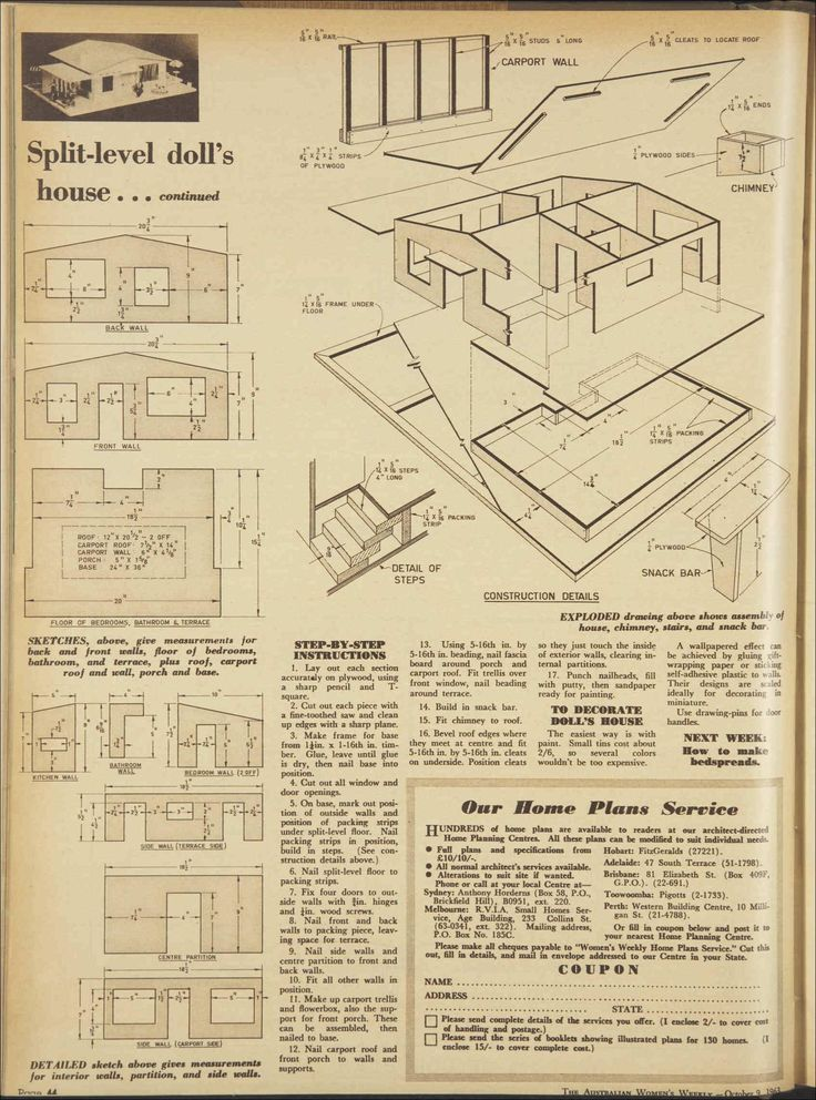 Plans For A Split Level 1960s Doll 39 S House 9 Oct 1963