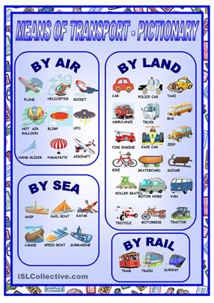 It's a pictionary about means of transport - ESL worksheets