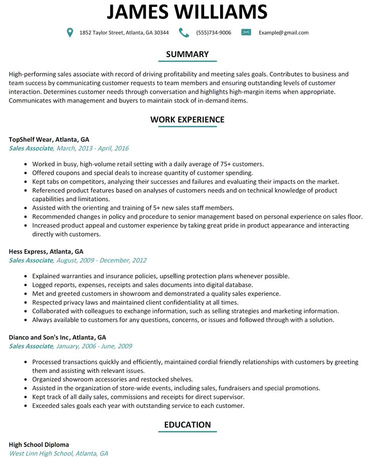 Retail Sales associate Resume Sample High Quality Retail