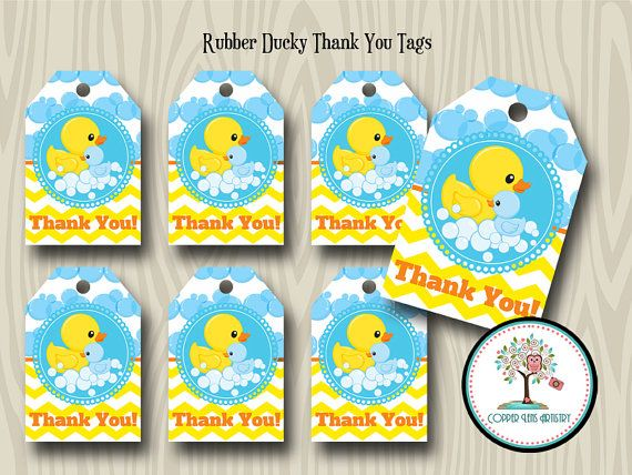 Rubber Duck Thank You Tags Gift Tag Favor Tag Baby