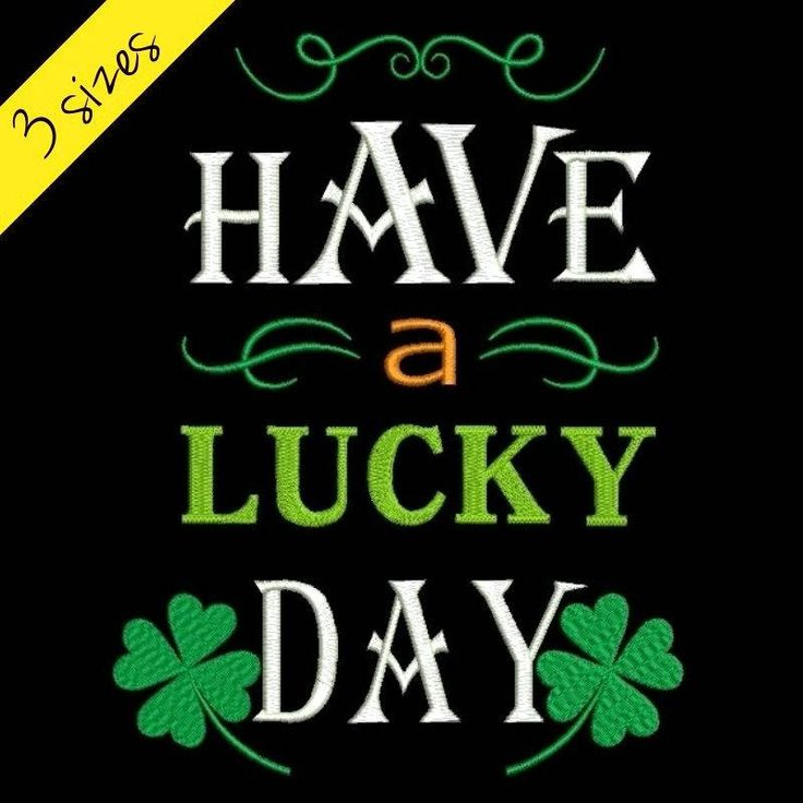 Have a lucky day Embroidery design St. Patrick's Day Shamrock machine designs instant digital download pes files Irish towel hoop by SvgEmbroideryDesign on Etsy