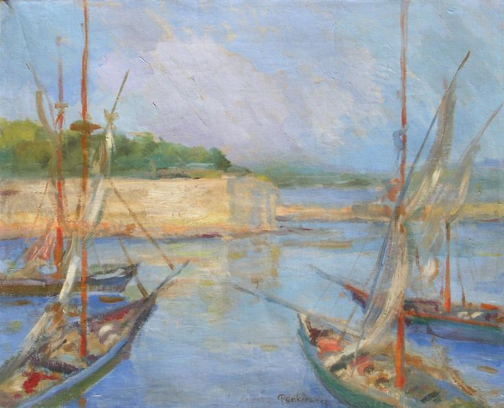 Józef PANKIEWICZ ,Łodzie w porcie w Concarneau, 1908 , olej, płótno, 41,5 x 51 cm