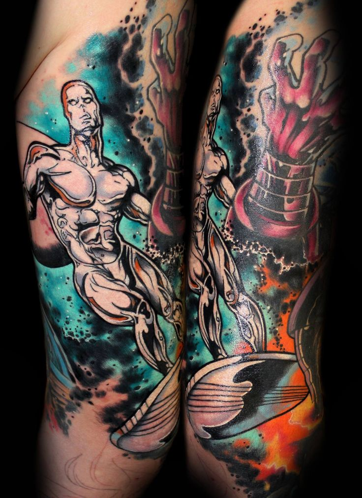 Silver Surfer Marvel tattoo by Chris 51 of Area 51 Tattoo, Springfield, OR & Epic Ink TV A&E