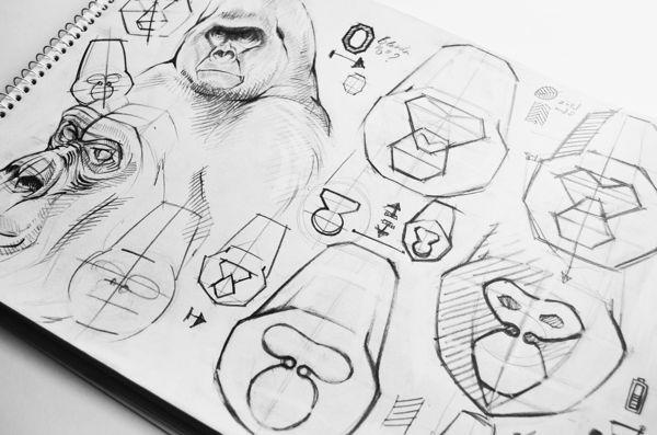 Gorilla Gadgets identité par les caractères masqués, via Behance