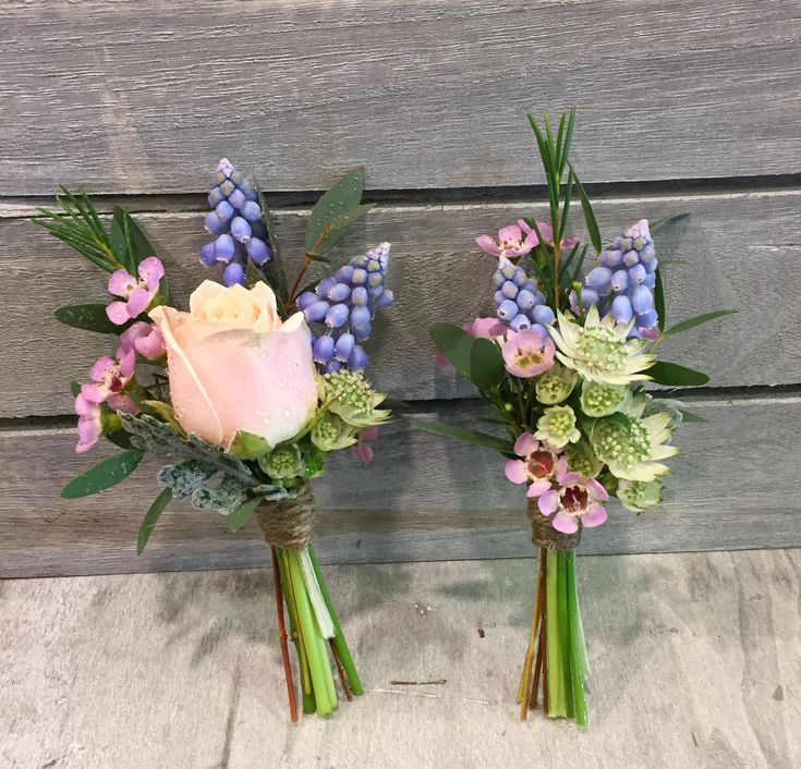 Boutonnieres: Muscari, Sweet Avalanche Spray, Cerise Pink Wax Flower, Silver Leaf, tied with twine