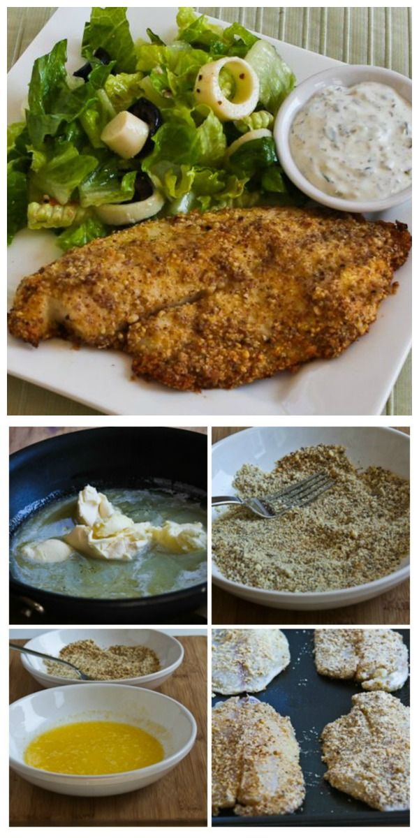 My name is Kalyn and I'm a tartar sauce addict! Seriously, I could eat this Low-Carb Almond and Parmesan Baked Tilapia once a week if I had my homemade tartar sauce with it. [from KalynsKitchen.com] #LowCarb #GlutenFree