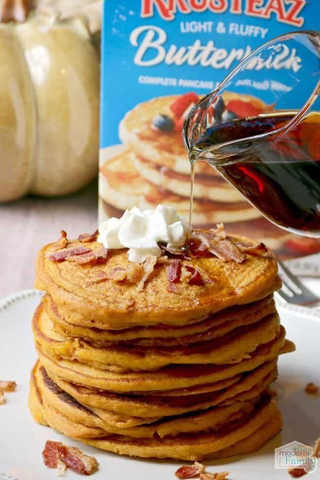 Maple Bacon Pumpkin Pancakes Recipe In 2020 Buttermilk Pancake Mix Pumpkin Pancake Mix Krusteaz Pancake Mix Recipes