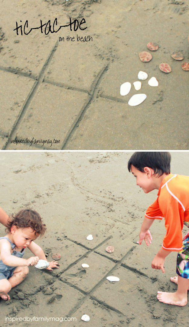 Fun Activities to do at the Beach with Family | Play Beach Tic-Tac-Toe by DIY Ready at http://diyready.com/things-to-do-at-the-beach/