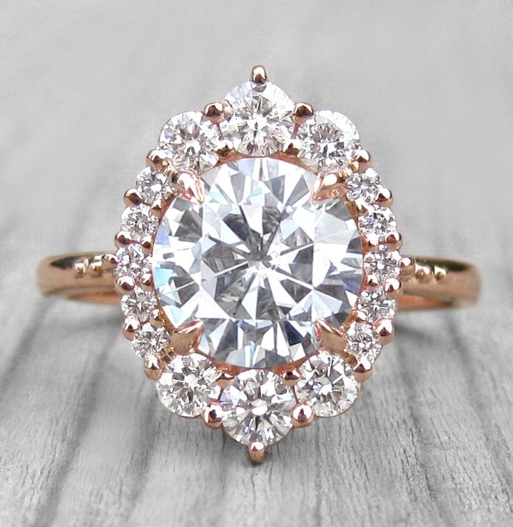 Rose gold Forever One™ or Supernova™ Moissanite Engagement Ring with Diamond Halo (2.55ct)