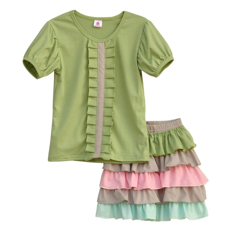 Latest Style Girls Spring Clothes Soild Color Short Sleeve Top Colorful Multilayer Ruffle Shorts Remake Kids Outfits S010