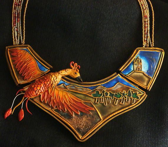Faux cloisonne polymer clay bib necklace - phoenix rising from ashes by Lijoux