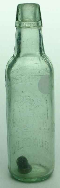 Embossing: Wm Whittaker & Sons / (Australian Coat of Arms) / Dunolly. No base mark. (Victoria) Type: Aerated Water Lamont /  Era: 1890s /  Variety: Applied top.  Aqua.  13 oz. /  Height: 228 mm /  Condition: Good.  Polished.  A few nicks to lower lip.  Some fisheyes as well.  Small impact bruise to left near base.  Scuffs and scratches throughout, some pitted scratches, some fisheyes and impact marks.  This has a dull appearance. /  Grade: 6.5 /  Estimate:  $ 20 -  $ 30 #Bottles #Lamont…