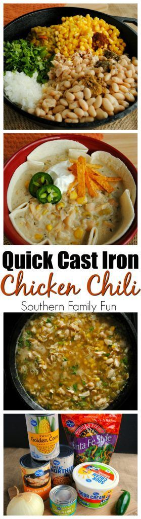 This Cast Iron White Chicken Chili is sure to warm you up during those colder months #castiron #chilirecipe @krogerco #ad