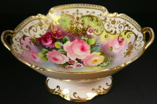 Antique Lovely Signed HAND PAINTED NIPPON ROSES & Gold Decorated Pedestal Bowl