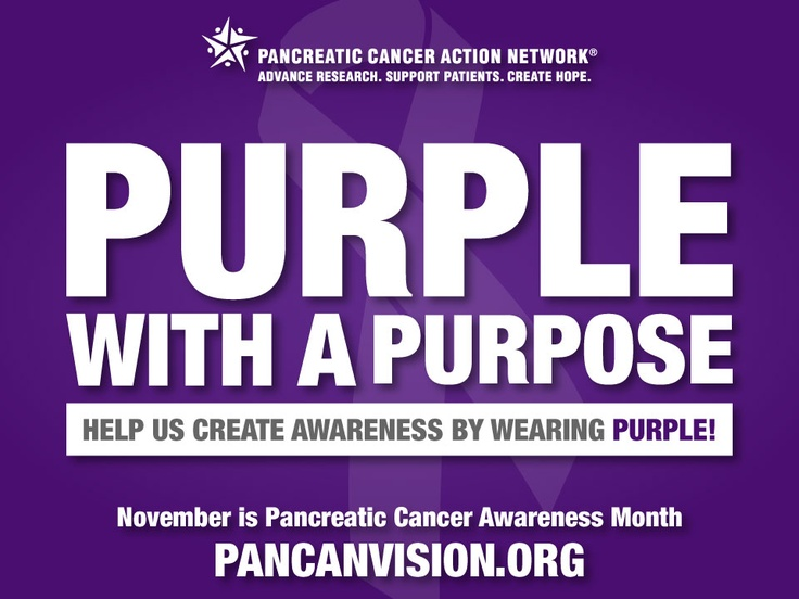 November is Pancreatic Cancer Awareness Month. This Friday help us raise awareness by wearing purple!     Click here to learn more: http://www.facebook.com/events/106938272801404/    You can still add a purple ribbon to your profile here: https://twibbon.com/Support/PanCAN-2