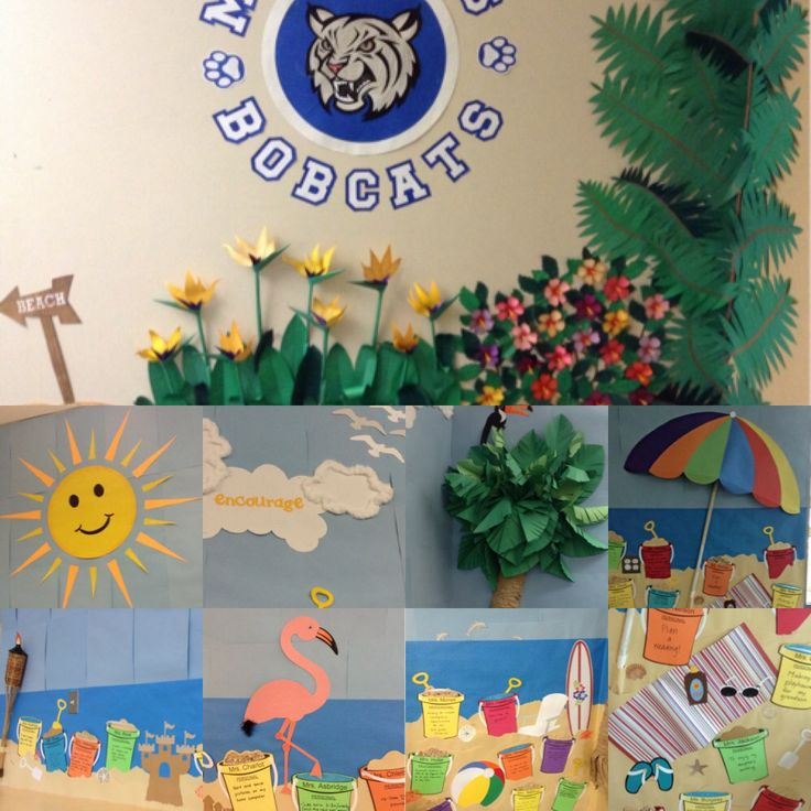Tropical Bulletin Board!  Palm trees, tropical flowers (Birds of Paradise & Hibiscus), flamingo, toucan, beach umbrella, buckets, shovels, sand, , shells, beach towel, beach ball, sand castle, tiki torches, sunglasses, flip flops, sun, and clouds with encouraging words!