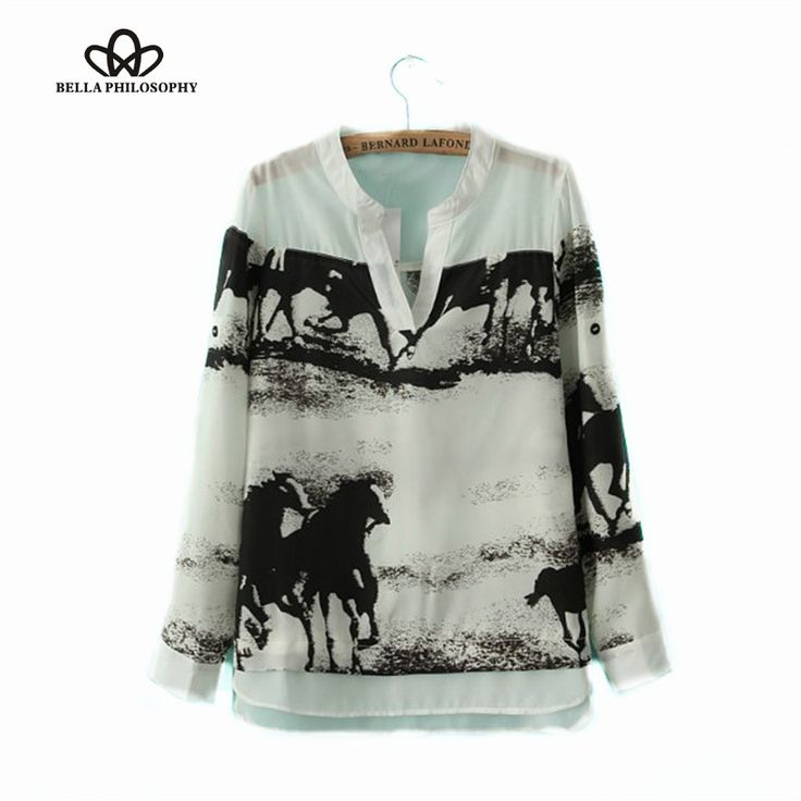New arrival desigual sale Horse ink print V-neck long sleeve white shirt women tops brand blusas chiffon blouse