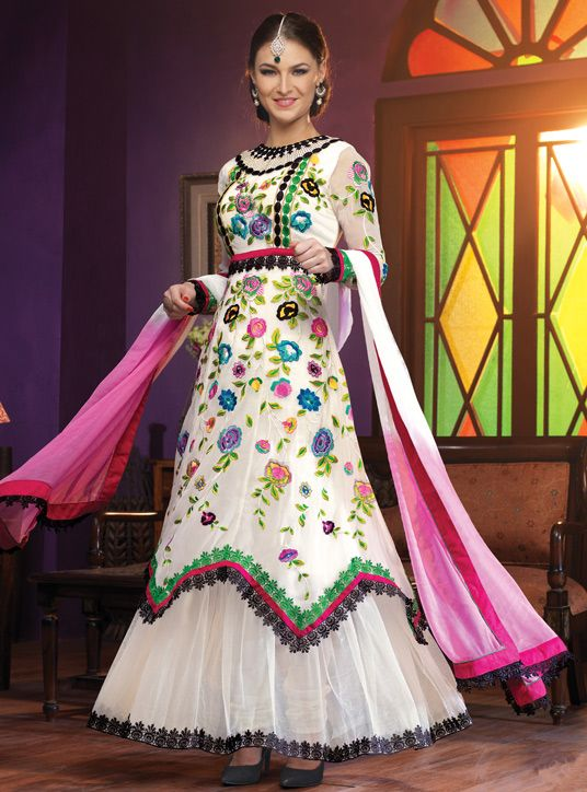 USD 60.06 White Georgette Designer Anarkali 44218