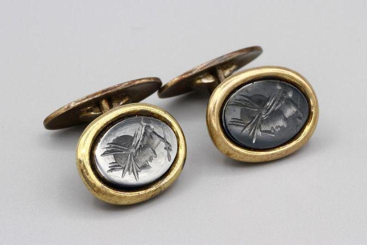 antique 925 cuff links stamped Sterling silver Vintage sterling silver Handmade hematite Roman soldier cufflinks