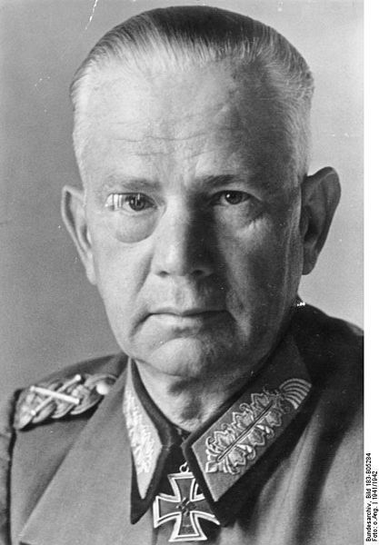 Walter von Reichenau was a German Field Marshall. He commanded the 10th Army during the invasion of Poland. In 1940 he led the 6th Army during the invasion of Belgium and France. He was an anti-Semite who ordered; In this eastern theatre, the soldier is not only a man fighting in accordance with the rules of the art of war...For this reason the soldier must learn fully to appreciate the necessity for the severe but just retribution that must be meted out to the subhuman species of Jewry.