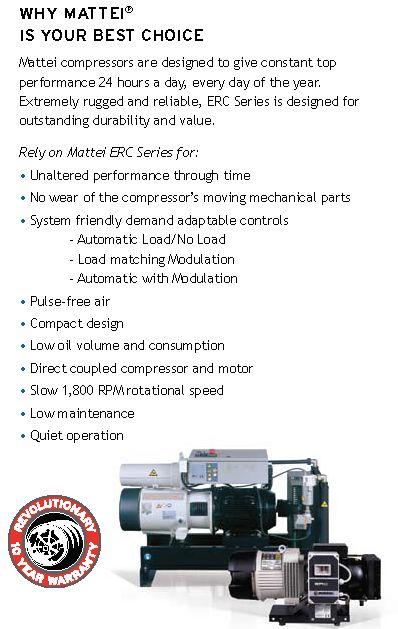 30 HP Rotary Vane Air Compressors 208-230V 460V 3-Phase   ERC1022L