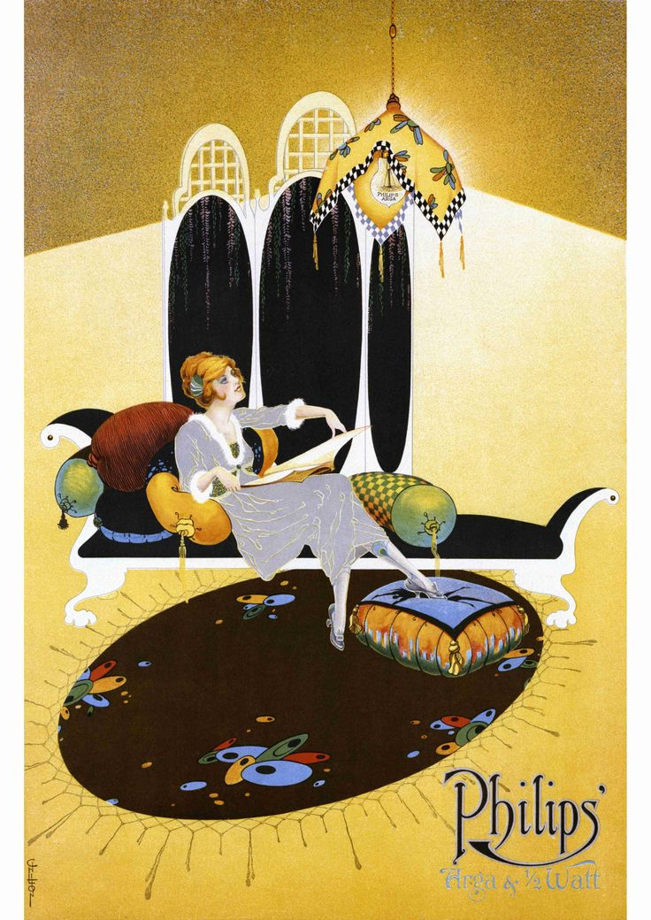Vintage Arga and Halfwatt poster ca. 1918 - illustrated by Coles Phillips.