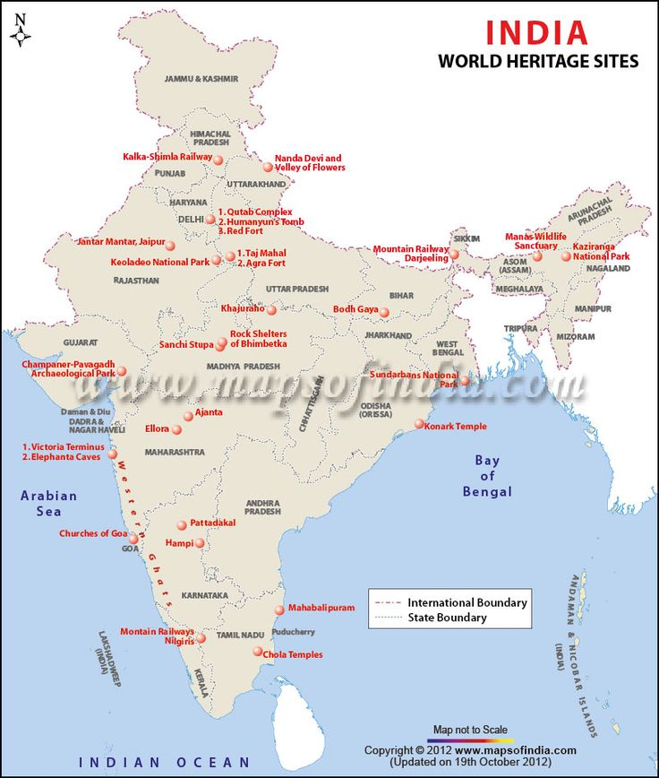 unesco world heritage site india map - 736×868