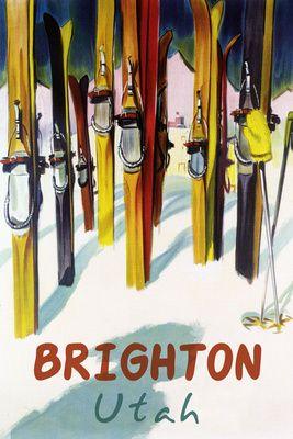Brighton Resort, Utah - Colorful Skis - Lantern Press Poster
