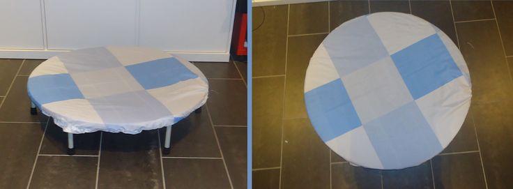 DIY hoes om trampoline te beschermen; gemaakt van een tafellaken (oud,minder mooi,plastieken,tuin); gewoon cirkel uitknippen en randje overplooien, dichtnaaien en rekkertje erin = klaar! recycleren van oude lakens of oude tafellakens