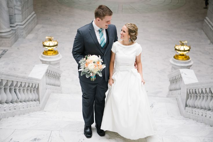 Jamie Tervort Photography, Utah State Capitol Formals, Bride and Groom Pictures, Bridals, Wedding, White wedding shoes, heels, coral, cream white wedding bouquet, turquoise earrings